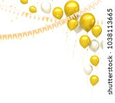 yellow and white baloons on the ... | Shutterstock . vector #1038113665