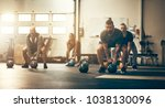 focused group of fit people... | Shutterstock . vector #1038130096