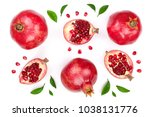 pomegranate with leaves... | Shutterstock . vector #1038131776