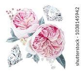 watercolor pink roses... | Shutterstock . vector #1038145942