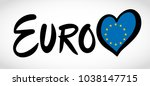 logo of euro with heart with... | Shutterstock .eps vector #1038147715