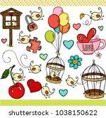 little bird set digital elements | Shutterstock .eps vector #1038150622