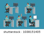 office worker set | Shutterstock .eps vector #1038151405