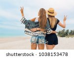 stylish pretty women on summer... | Shutterstock . vector #1038153478