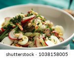 salad with vegetables and eggs... | Shutterstock . vector #1038158005