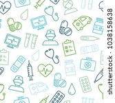 medical icons seamless pattern  ... | Shutterstock .eps vector #1038158638