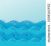 abstract paper art sea or ocean ... | Shutterstock .eps vector #1038161932