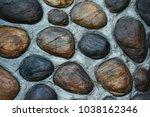 stone floor path on concrete... | Shutterstock . vector #1038162346