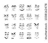 cartoon face emotion set.... | Shutterstock .eps vector #1038162478