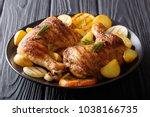 hot fried chicken legs with... | Shutterstock . vector #1038166735