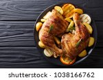 spicy bbq chicken legs with... | Shutterstock . vector #1038166762