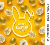 easter greeting card. cut from... | Shutterstock .eps vector #1038170026