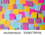 many colorful sticky notes on... | Shutterstock . vector #1038178936