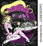 retro poster with sexy tattooed ... | Shutterstock .eps vector #1038182092