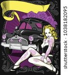 retro poster with sexy tattooed ... | Shutterstock .eps vector #1038182095
