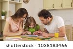 happy family painting together  ... | Shutterstock . vector #1038183466