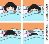 tired exhausted grumpy girl can'... | Shutterstock .eps vector #1038189205