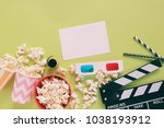 flat lay of cinema movie items  ... | Shutterstock . vector #1038193912