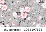 Stock photo seamless pattern with spring flowers and leaves hand drawn background floral pattern for 1038197938