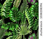 seamless vector floral summer...   Shutterstock .eps vector #1038208396