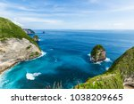 kelingking beach on nusa penida ...   Shutterstock . vector #1038209665
