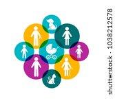 modern colorful vector family... | Shutterstock .eps vector #1038212578