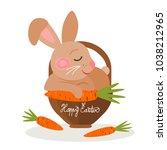 easter bunny in a basket ... | Shutterstock .eps vector #1038212965