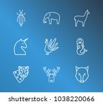 zoo icon set and unicorn with... | Shutterstock .eps vector #1038220066