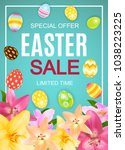 happy easter cute sale poster ... | Shutterstock .eps vector #1038223225