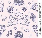 love and wedding seamless... | Shutterstock .eps vector #1038225052