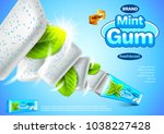 chewing gum ads. mint pack... | Shutterstock .eps vector #1038227428