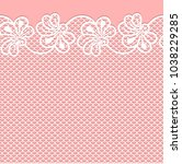 flower lace border on pink...   Shutterstock .eps vector #1038229285