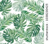 pattern of green palm branches... | Shutterstock . vector #1038230425