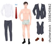 handsome young man with clothes ... | Shutterstock .eps vector #1038240862