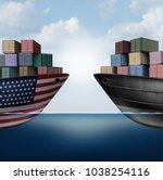 american trade war tariffs in...   Shutterstock . vector #1038254116