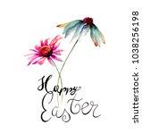 gerber flowers with title happy ... | Shutterstock . vector #1038256198