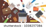 workplace. office table. work... | Shutterstock . vector #1038257386