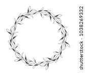 vector hand drawn floral wreath ... | Shutterstock .eps vector #1038269332