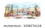 florence city in italy.... | Shutterstock .eps vector #1038276118