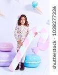 small little girl beautiful... | Shutterstock . vector #1038277336