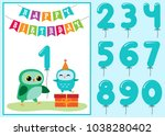 birthday anniversary card with... | Shutterstock .eps vector #1038280402