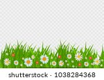 grass and flowers border ... | Shutterstock .eps vector #1038284368