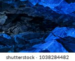 blue ice cave crystal frozen... | Shutterstock . vector #1038284482
