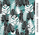 vector floral and tropical... | Shutterstock .eps vector #1038290818