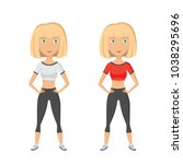 young blonde pretty woman doing ... | Shutterstock .eps vector #1038295696