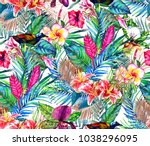 seamless tropical floral... | Shutterstock . vector #1038296095