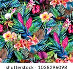 seamless tropical floral... | Shutterstock . vector #1038296098