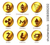 flat cryptocurrencies icons of... | Shutterstock .eps vector #1038300202