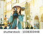 young beautiful hipster girl... | Shutterstock . vector #1038303448