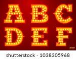 vector realistic glowing... | Shutterstock .eps vector #1038305968